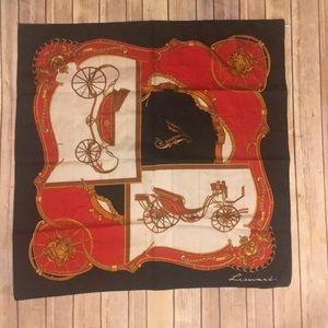 Vintage Leonardi Scarf Carriage Print Red white